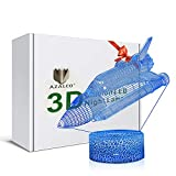 3D Illusion Cosmic Spacecraft Air Space Ship Plane The Bus Spaceship Combination Aircraft Night Light Lamp 16 Color Change by Remote Control Touch White Crack Base AZALCO Birthday Gift