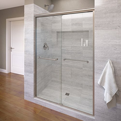 Basco Infinity Semi-Frameless Sliding Shower Door, Fits 44- 47 inch opening, Clear Glass, Brushed Nickel Finish