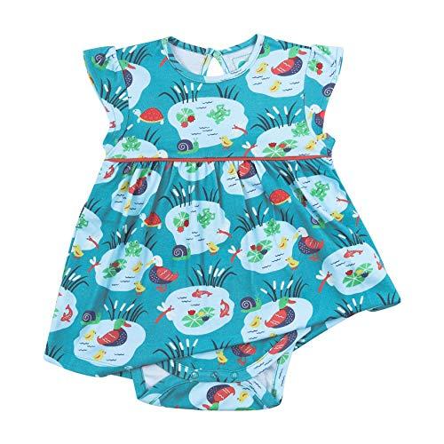 Piccalilly Robe bébé avec Body intégré, Jersey Doux, Coton Biologique, Bleu Aqua - Bleu - 6 Mois