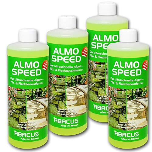 ABACUS ALMO Speed 4X 1000 ml Flechtenentferner Algenentferner Pilzentferner Grünbelagsentferner ohne Glyphosat Unkrautvernichter Denkmalreiniger Grabsteinpflege Algen Flechten Algenex