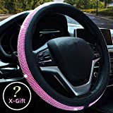 wheel accessories - Valleycomfy Diamond Crystal Steering Wheel Cover for Women Girls- Bling Bling Rhinestones Steering Wheel Cover with Universal Fit 15 Inch(Pink White Diamond)