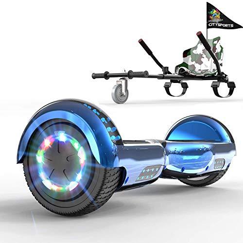 GeekMe Hoverboard Gyropode 6.5 Pouce avec hoverkart Scooter électrique Auto-équilibré Bluetooth Intégré Moteur pour Enfants et Adultes (Blue+Camouflage Kart)