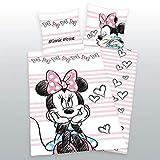 Herding Disneys Minnie Mouse Bettwäsche-Set, Wendemotiv, Mit praktischer Knopfleiste, Flanell/Biber, rosa, Bettbezug 135 x 200 cm, Kopfkissenbezug 80 x 80 cm