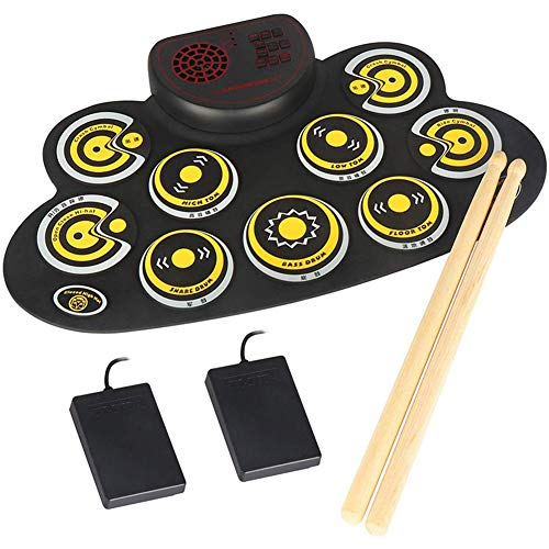 Donteec Drum Kit, Portable Electronic Drum Kit 9 Silicon Drum Pad Built-in Speaker USB Powered, Electric Drum Beginner Set Percussion Child Best Gift