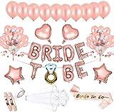 AivaToba Bride to Be Globos Banner para Fiestas de Despedida de Soltera con Globos de Oro Rosa, Confetti Globos con la Novia para ser Faja y Velo