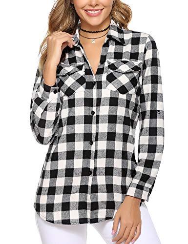 Aibrou Camisa de Cuadros para Mujer,Algodón Blusas Franela de Manga Larga Casual Clásica con Botones,Camisas a Cuadras para Primavera Otoño Invierno (Negro Blanco 2, S)