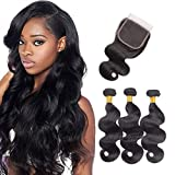Brazilian Body Wave Bundles With Closure 8A Human Hair Bundles With Closure 100% Unprocessed 3 Bundles With Closure Remy Hair Extensions Natural Color(10 12 14+10'' Closure)