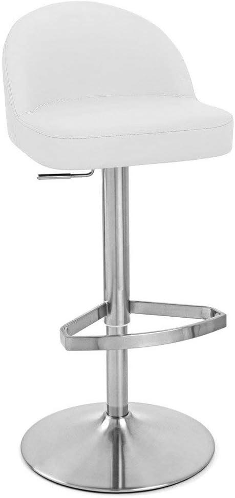 Zuri Furniture White Mimi Adjustable Height Swivel Bar Daily bargain Time sale sale Armless S