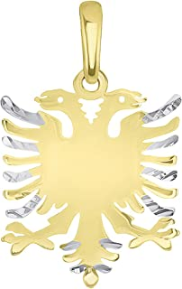 Solid 14k Yellow Gold Double-Headed Eagle National Symbol of Albania Pendant