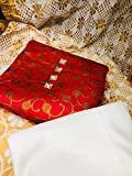 new bapa sitaram Women's Jacquard Unstitched Latest Salwar Suit Dress Material Free Size (red)