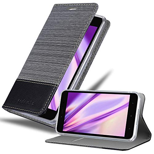 Cadorabo Book Case Works with Xiaomi Red Mi Note 5A in Grey Black – with Magnetic Closure, Stand Function and Card Slot – Wallet Etui Cover Pouch PU Leather Flip