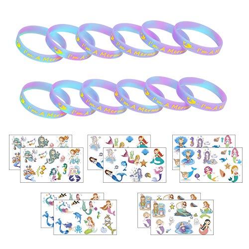 ZERHOK 12Stk Meerjungfrau Leuchten Armbänder mit 10tlg Mermaid Tattoos mitgebsel Silikonarmband für Mädchen Kinder Geburtstag Geschenke Meerjungfrau Party