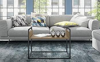 BRV Moveis Center Table, Oak and Black - H 50 cm x W 70.5 cm x D 44.5 cm