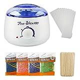 WQWEAQA Wachs-Wärmer, Wachs Enthaarung Mild Kit Für Männer Und Frauen, Einschließlich Vier Arten Von Geschmack Hartwachsbohnen Und 20 Wachs Und 10 Bar Coating Wax Sticks