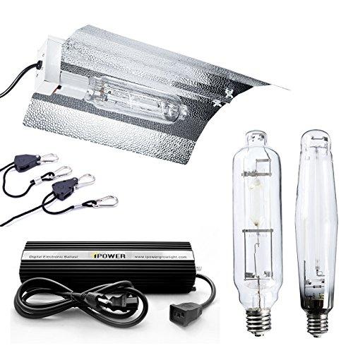 iPower GLSETX1000DHMWING20 Horticulture 1000 Watt HPS MH Digital Dimmable Ballast Grow Light System Kits Wing Reflector Hood Set, 1000W