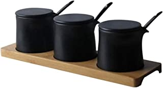 SCDZS Bouteille Assaisonnement noir, créatif noir mat Assaisonnement Pot en céramique Sauce vinaigre bouteille d'huile ave...