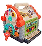 LEARN SHAPES: The educational learning house includes 5 pieces of geometrical shape blocks, 6 pieces of animal blocks with animal sounds, musical playing, opening door game, piano keys, counting center, flashing light help kids develop cognitive skil...