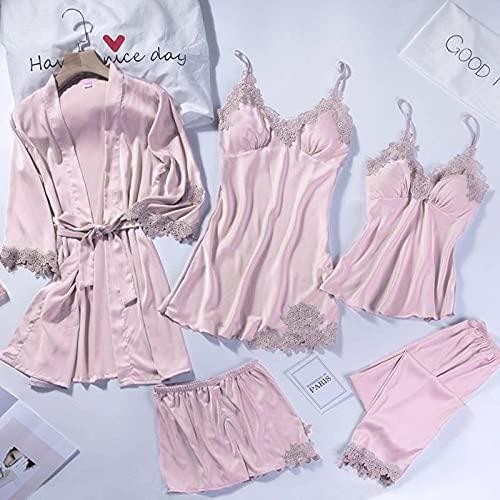 N\C Pijamas de Cinco Piezas para Mujer Primavera y Verano Sexy Tirantes de Encaje camisón Conjunto de Albornoz de satén Ropa de casa camisón de Boda