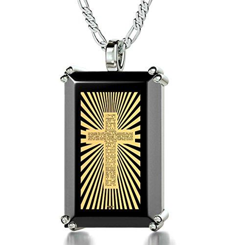 925 Sterling Silber Halskette Kreuz und Psalm 23 Graviert auf Englisch mit 24k Gold auf 15x24mm Schwarzem Onyx Anhänger, 45cm Silberkette