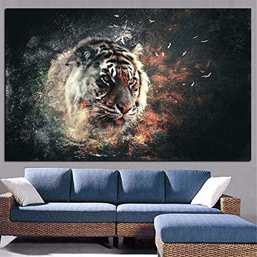 Imágenes de arte de pared Impresión en HD Animales de tigre Óleo Arte pop Cartel moderno Impresiones Imagen de pared Mural para sala de estar Póster Decoración de sofá 20x30cm sin marco