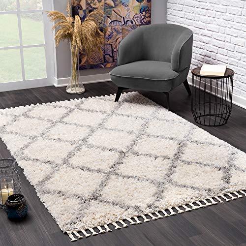 SANAT Wohnzimmer Teppich VersayS - Shaggy Tepiche für Wohnzimmer, Schlafzimmer, Küche Creme, Größe: 160 x 230 cm