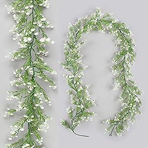Homcomoda Artificial Plants Baby Breath Flowers Vines Real Touch Gypsophila Flower Garland Hanging for Wedding Home Outdoor Garden Decoration