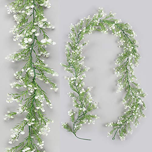 Homcomodar Artificial Gypsophila Plants Garland Fake Plastic Flowers Hanging Vine for Outdoor