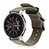 FINTIE Correa Compatible con Samsung Galaxy Watch 3 (45mm)/Galaxy Watch 46mm/Gear S3 Classic/Gear S3 Frontier - Pulsera de Repuesto de Nylon Tejido Banda Ajustable, Caqui