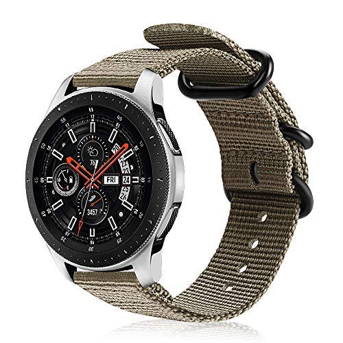 FINTIE Correa Compatible con Samsung Galaxy Watch 3 (45mm)/Galaxy Watch 46mm/Gear S3 Classic/Gear S3 Frontier - Pulsera de Repuesto de Nylon Tejido Banda Ajustable, Caqui