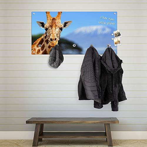 banjado Wandgarderobe aus Echtglas | Design Garderobe 80x40x6cm groß | Paneel mit 5 Haken | Flurgarderobe für Jacken und Mäntel | Garderobenleiste mit Motiv Miss Kilimandscharo