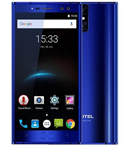 OUKITEL K3 - schermo da 5,5 pollici FHD Smartphone Android 7.0 4G, quattro fotocamere (2MP + 16MP frontale, 2MP + 16MP posteriore), Batteria 6000mAh Carica rapida 9V / 2A - Blu