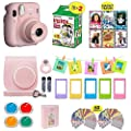Fujifilm Instax Mini 11 Instant Camera Blush Pink + Shutter Compatible Carrying Case + Fuji Film Value Pack (20 Sheets) + Shutter Accessories Bundle, Color Filters, Photo Album, Assorted Frames by FUJIFILM