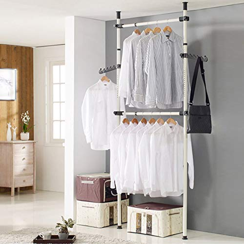 YORKING Hanging Clothes Rail with 2 Poles 2 Bars, Duty Clothes Rack, Telescopic Wardrobe Organizer, Movable Clothes Hanging Rail Rack, DIY Clothes Wardrobe Organiser Height Adjustable,270-320CM
