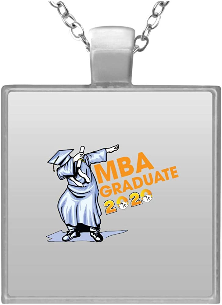 Mba Student Grad 2020 Business Super special price Max 66% OFF Degree Graduation Necklace Square