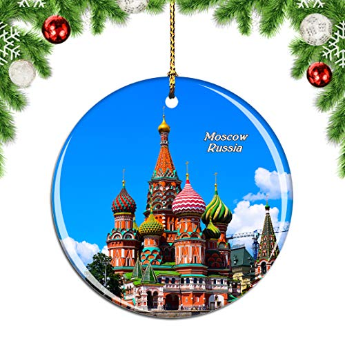 Weekino Russia Moscow St Basile Red Square Christmas Xmas Tree Ornament Decoration Hanging Pendant Decor City Travel Souvenir Collection Double Sided Porcelain 2.85 Inch