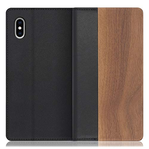 LOOF Nature iPhone XS Max ケース 手帳型 カバー 天然木 本革 ウッド 手帳型ケース 手帳型カバー 携帯ケース 携帯カバー スマホケース スマホカバー ベルト無し 木製 スタンド機能付き カード収納 カードポケット (胡桃-天然木
