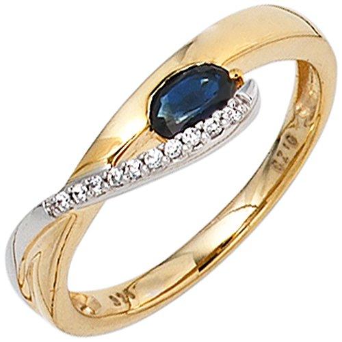 JOBO Damen-Ring aus 333 Gelbgold und Weißgold mit Safir und Zirkonia Größe 56