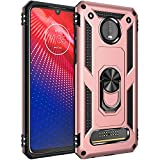 Military Grade Drop Impact for Motorola Moto Z4 Case,Moto Z4 Play Case 360 Metal Rotating Ring Kickstand Holder Magnetic Car Mount Armor Heavy Duty Case Z4 Z4 Play Z4 Force Phone Case (Rose Gold)