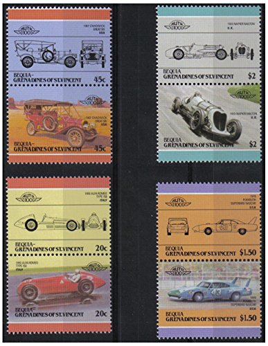 Auto 100 4 ° Automobiles Serie 4 auto d'epoca coppie bollo automobilistico / Bequia Grenadines di St. Vincent / 1985 / MNH