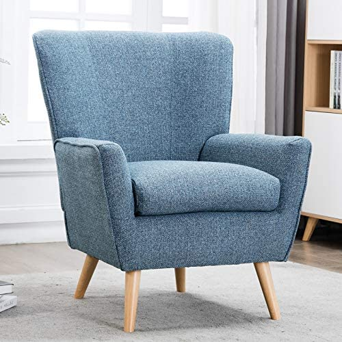 Best CANMOV Arm Chairs, Mid Century Modern Fabric Accent Chair, Blue
