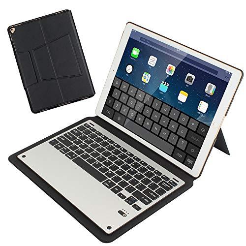 Sairain Funda de Teclado inalámbrico, para iPad Pro 12.9 Pulgadas (2015/2017), botón Plegable multifunción con Teclado Bluetooth, como Macbook, diseño alemán