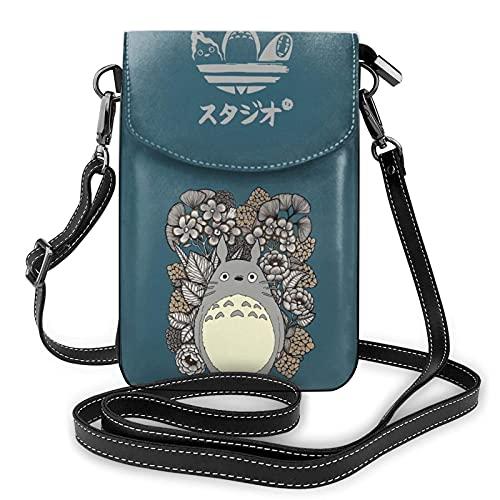 Anime Small Crossbody Bolsas Durable Teléfono Celular Cartera Bolso de Hombro Bolso de Cuero con Ranuras para Tarjetas de Crédito