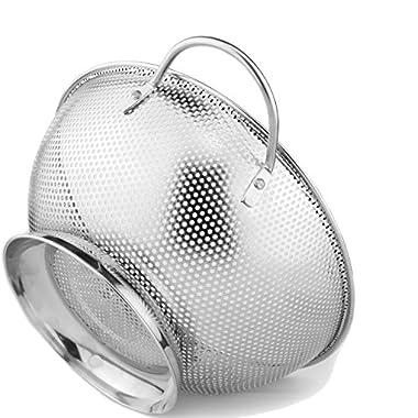 Colander Pro Stainless Steel 5-Quart Colander: Metal Pasta Strainer with Handles & Base - Large Strainer Basket for Pasta, Rice Noodles & More: Dishwasher Safe