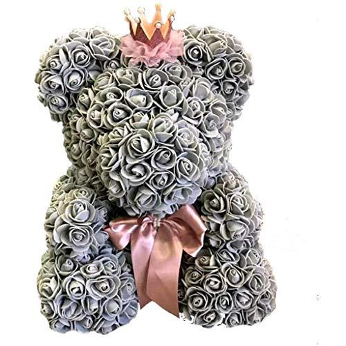 Rose Bear Eternal Flower cadeau créatif fait à la main Rose Bear Rose Bear Christmas Bear anniversaire cadeau d'anniversaire anniversaire Saint Valentin Couple 14 pouces (40 cm) boîte cadeau gris,Gray