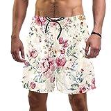 LORVIES - Bañador para hombre con estampado de flores vintage para playa, secado rápido, talla L multicolor M