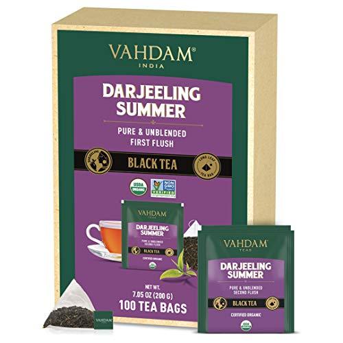 VAHDAM, Darjeeling Schwarzer Tee Aus Dem Himalaya (100 Teebeutel) | Mittleres Koffein, Energiereicher Tee | 100% Zertifizierte Reine Ungemischte Darjeeling Teebeutel Aus Indien