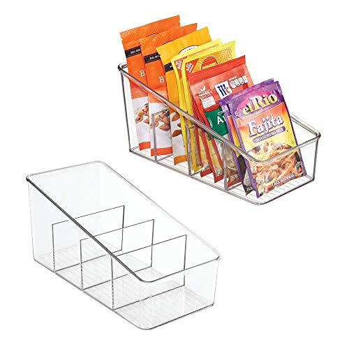 mDesign Large Plastic Food Packet Organizer Caddy Fridge or Freezer - Storage for Kitchen Pantry Cabinet Countertop - Spice Pouches Dressing Mixes Hot Chocolate Rice Seasoning 2 Pack - Clear