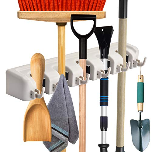 Mop and Broom Holder Wall Mount - ONMIER - Broom Holder Wall Mounted Organizer Storage Rack for Garden, Garage Tools (5 Positions with 6 Hooks)