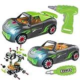 GILOBABY Montage Spielzeug Auto, Kinder DIY Gebäude Spielzeug,2 IN 1 Elektrisches Rennwagen Set mit Lichtern und Drill-Sound,STEAM Spielzeug Geschenke für Kinder