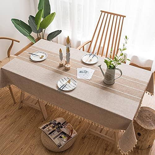 LAZY CAT Mantel decorativo de lino a cuadros con borla, impermeable, resistente al aceite, rectangular, grueso, para mesa de comedor (color: café A, especificación: 140 x 200 cm)